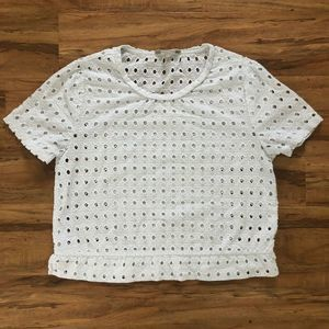 Banana Republic White Circle Eyelet Cropped Top S